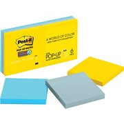 "Post-it® Pop-Up Super Sticky 3"" x 3"" New York Color Notes, 6 Pads/Pack"