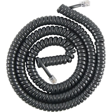 Power Gear Telephone Coil Cord, Black (12 ft.)