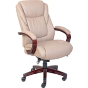 La-Z-Boy Miramar Leather Executive Office Chair, Fixed Arms, Taupe (45835)