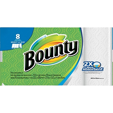 Bounty® Select-A-Size™ Paper Towels, White, 8 Regular Rolls (PGC 88187/81531)