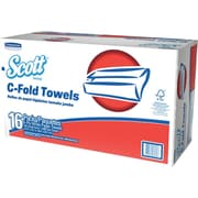 "Scott® C-Fold Paper Towels, 150 Sheets/Pack, 16 Packs/Case, White, Unscented, 13 1/5"" x 10 1/10"", 1-Ply, 2400/Case (45786)"