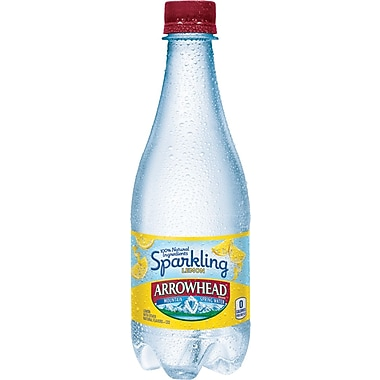 ARROWHEAD® Sparkling Mountain Spring Water, Lemon 16.9-ounce Plastic Bottle, 24/Pack