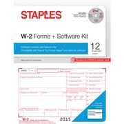 Staples 2015 Tax Forms, W2 Kit with Software and Envelopes, Inkjet/Laser, 12/Pack