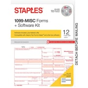 Staples 2015 Tax Forms, 1099-MISC Kit with Software and Envelopes, Inkjet/Laser, 12/Pack
