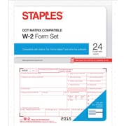 Staples 2015 Tax Forms, W2 Continuous Set, 24/Pack