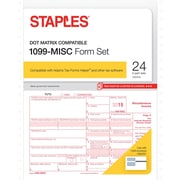 Staples 2015 Tax Forms, 1099-MISC Continuous Set, 24/Pack
