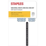 Staples 2015 Tax Form Envelopes for 1099, Self-Seal, Security-Tint, 25/Pack