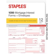 Staples 2015 Tax Forms, 1098-Mortgage Interest with Envelopes, Inkjet/Laser, 12/Pack