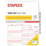 Staples 2015 Tax Forms, 1099-DIV Set, Inkjet/Laser, 10/Pack