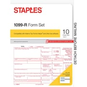 Staples 2015 Tax Forms, 1099-R Set, Inkjet/Laser, 10/Pack