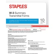 Staples 2015 Tax Forms, W3 Summary Transmittal Form Kit, Inkjet/Laser, 10/Pack