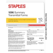 Staples 2015 Tax Forms, 1096 Summary Transmittal Form Kit, Inkjet/Laser, 10/Pack