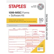 Staples 2015 Tax Forms, 1099-MISC Kit with Software, Inkjet/Laser, 50/Pack