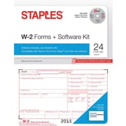 Staples 2015 Tax Forms, W2 Kit with Software, Inkjet/Laser, 24/Pack