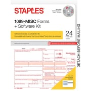 Staples 2015 Tax Forms, 1099-MISC Kit with Software, Inkjet/Laser, 24/Pack