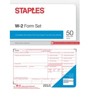 Staples 2015 Tax Forms, W2 Kit, Inkjet/Laser, 50/Pack