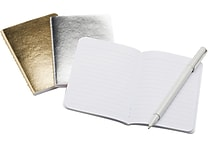 Poppin Mini Soft Cover Notebooks, Metallic Assorted, Set of 3 (102239)
