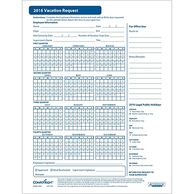 ComplyRight 2016 Vacation Request Form, 50 Pack