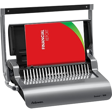 Fellowes Quasar™+ 500 Manual Comb Binding Machine with Starter Kit, Metallic Silver/Black