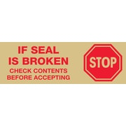 "Tape Logic® Pre-Printed Carton Sealing Tape, ""Stop If Seal Is Broken..."", 3"" x 110 yds., Red/Tan, 24/Case"