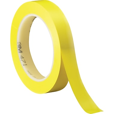 3M #471 Solid Vinyl Tape, Yellow, 1/2