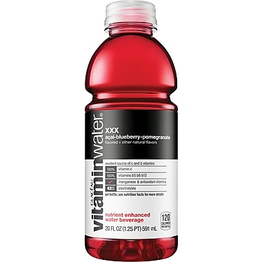 Glaceau Vitaminwater®, XXX, Acai-Blueberry-Pomegranate, 20 oz., 24 Bottles/Case