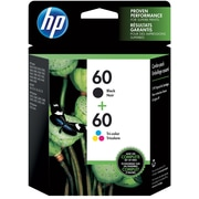 HP 60 Black/60 Color Ink Cartridge, N9H63FN, 2/Pack