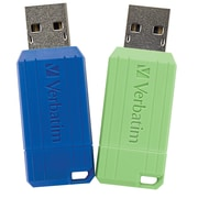 Verbatim 2PK 16GB PinStripe USB 2.0 Flash Drive - Green, Blue