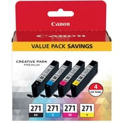 Canon CLI-271 BKCMY Ink Cartridges, (0390C005), 4/PK