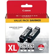 Canon PGI-270XL Pigment Black Ink Cartridge (0319C005), 2/PK