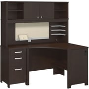 Bush Business Envoy Corner Desk, Hutch and 3 Dwr Pedestal, Mocha Cherry