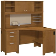 Bush Business Envoy Corner Desk, Hutch and 3 Dwr Pedestal, Natural Cherry