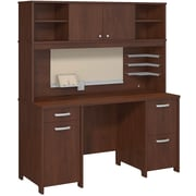 Bush Business Envoy Double Pedestal Desk and Hutch, Hansen Cherry