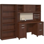 Bush Business Envoy Double Pedestal Desk, Hutch and Bookcase, Hansen Cherry
