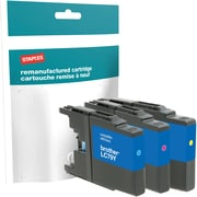 Staples® Reman Inkjet Cartridges, Brother LC-79XXL (LC79C, LC79M, LC79Y) Cyan, Magenta, Yellow, Extra High Yield, Multi-Pack