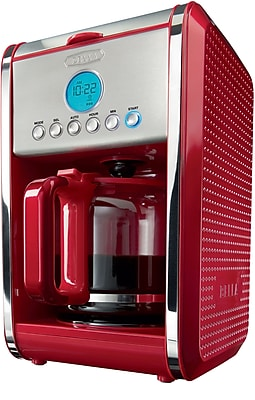 BELLA Dots 12 Cup Coffee Maker, Red 275652