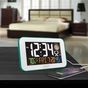 La Crosse Technology 617-1485BL Color LED Alarm Clock with USB charging port, Blue