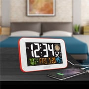 La Crosse Technology 617-1485R Color LED Alarm Clock with USB charging port, Red