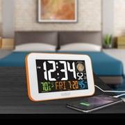 La Crosse Technology 617-1485O Color LED Alarm Clock with USB charging port, Orange