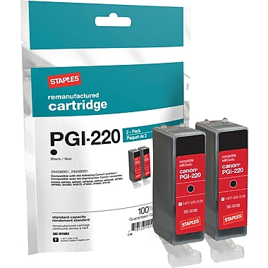 Staples® Remanufactured Black Ink Cartridges Compatible with Canon PGI-220, 2/Pack