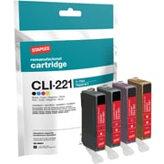 Staples Remanufactured B/C/M/Y Black/Color Ink Cartridges, Canon CLI-221 (SIC-R80C4), Combo 4/Pack