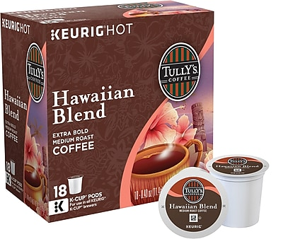 Keurig K-Cup Tully's Hawaiian Blend Coffee, Regular, 18 Pack 108529