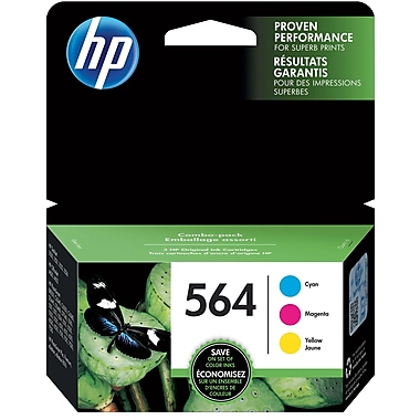 HP 564 C/M/Y Color Ink Cartridges (N9H57FN#140), Combo 3/Pack
