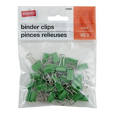 StaplesMD – Pinces relieuses, mini, 3/5 po, vert, 40/pqt