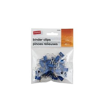StaplesMD – Pinces relieuses, mini, 3/5 po, bleu foncé, 40/pqt