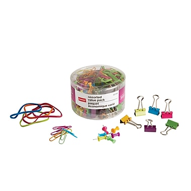 Staples® Binder Clip, Paper Clip, Push Pins & Rubber Bands Value Pack, 315/Tub