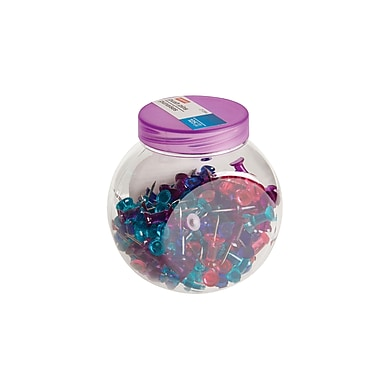 Staples® Push Pins, Assorted Colours, Red/Purple/Teal, 125/Pack