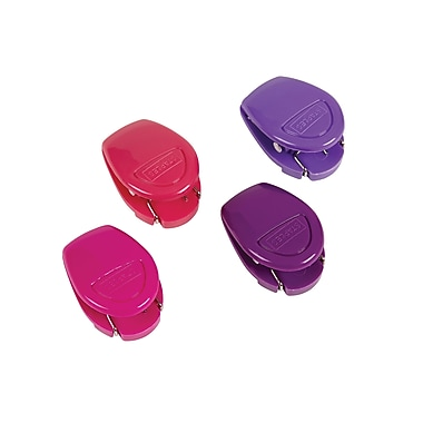 Staples® Cubical Clips, Assorted Fashion Colours, 4/Pack