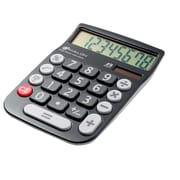 Avalon 8 Digit Dual Powered Desktop Calculator, LCD Display, Black
