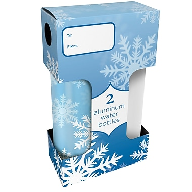 Gaiam® Aluminum Water Bottle, Snowflake & Blizzard, 750mL, 2/Pack